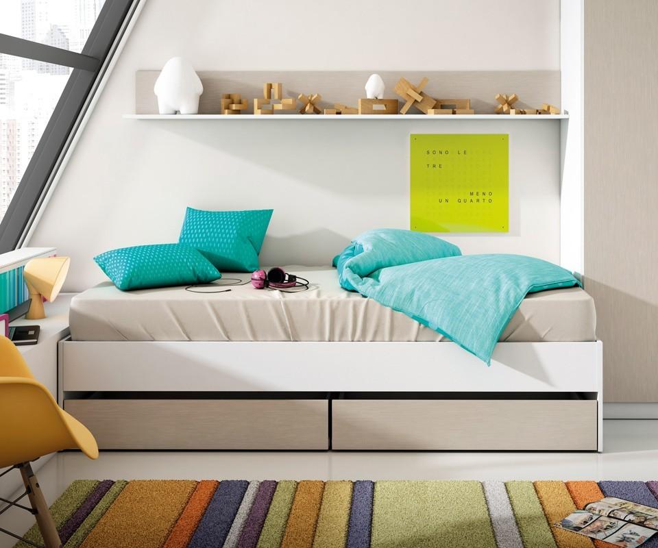 Cama juvenil con dos cajones alex comprar camas nido en tuco for Cama nido hipermueble