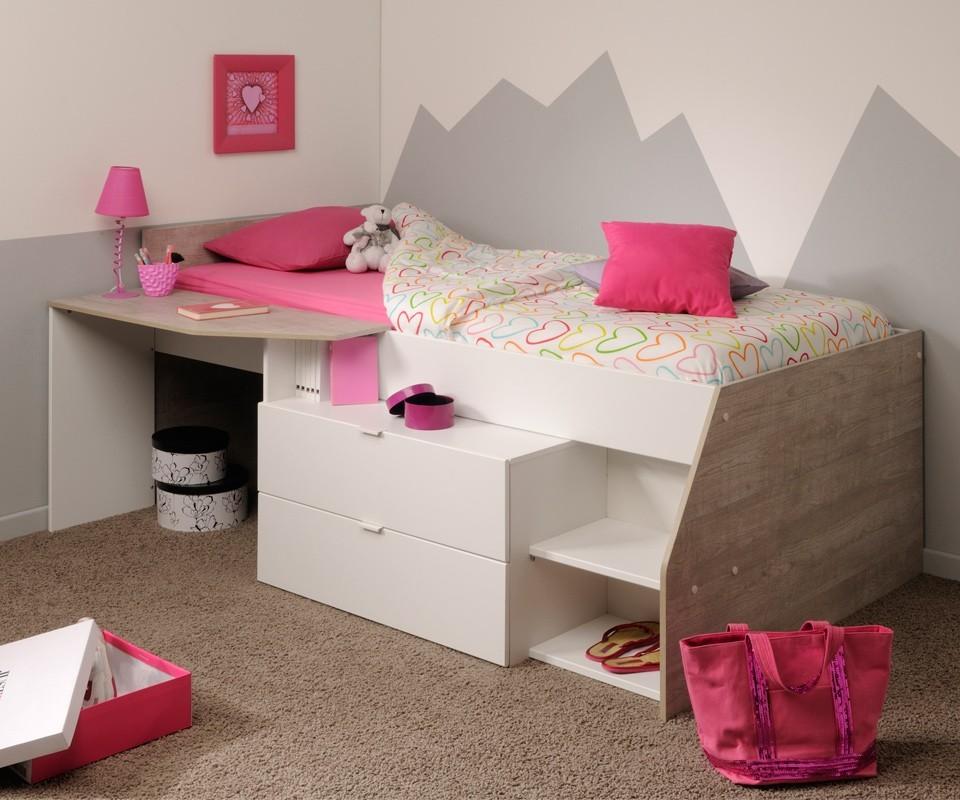 Muebles juveniles cama con escritorio for Camas compactas juveniles con cajones