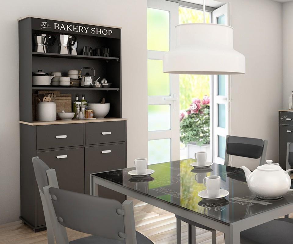 Mueble alto con dos puertas y dos cajones bakery comprar for Estanteria auxiliar cocina
