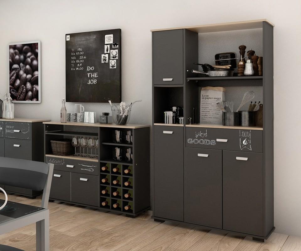 Mueble auxiliar un caj n y cuatro puertas bakery comprar - Mueble botellero cocina ...