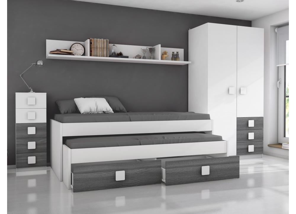 Comprar habitaci n juvenil rachel precio conjuntos for Habitacion juvenil dos camas