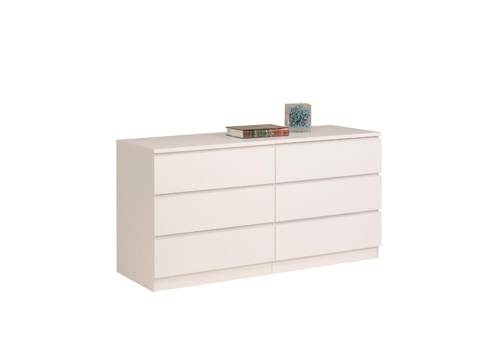Comprar c moda blanca con 6 cajones precio dormitorios - Comoda blanca ...