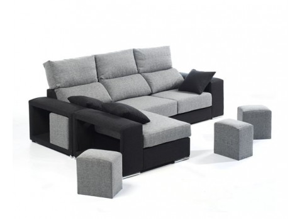 Comprar chaisselongue negro y gris precio sof s y for Sofas y sillones precios